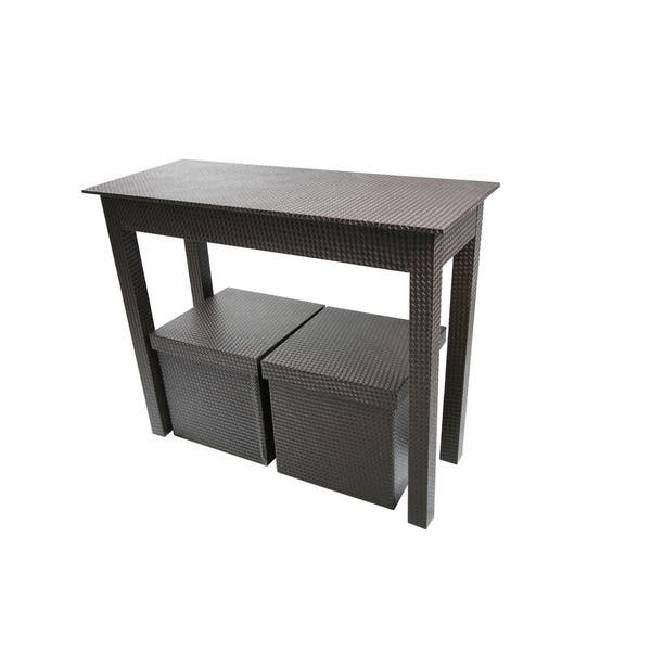 Dark Brown Leatherette Console Table And Two Matching