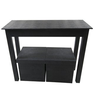 Patterned Black Leatherette Console and Two Matching Storage Ottomans (Set of 3)