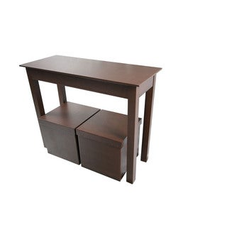 Brown Watercolors Leatherette Console and Two Matching Storage Ottomans (Set of 3)