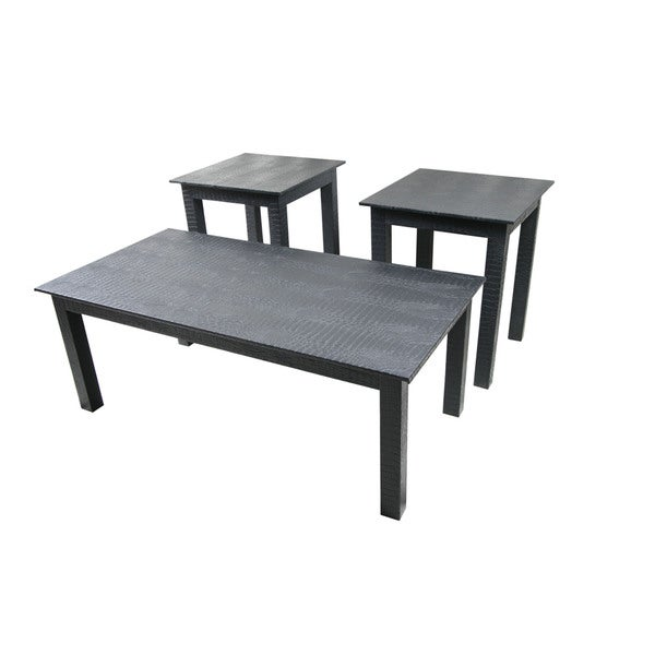 Patterned Black Leatherette Coffee Table And Side Tables (Set Of 3)