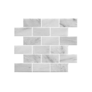 11.75-inch Marbled Brick Pattern Stone Mosaic Wall Tile (Pack of 11)
