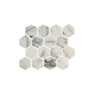11.75-inch Marbled Honeycomb Pattern Stone Mosaic Wall Tile (Pack of 11)