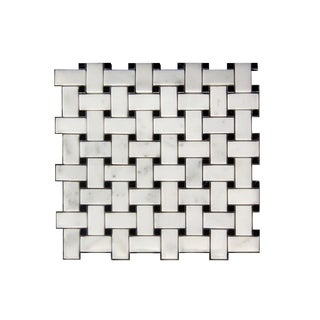 11.75-inch White/ Black Lattice Pattern Stone Mosaic Wall Tile (Case of 11)