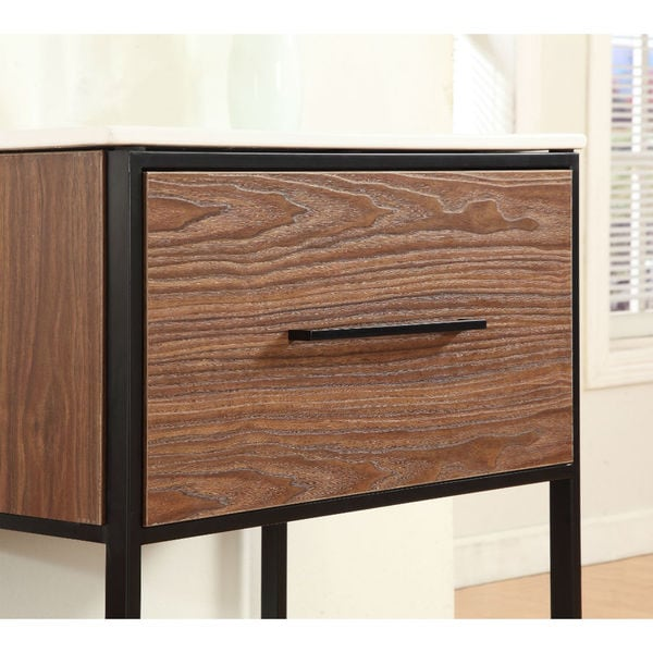 Legion Furniture 24-inch Antique Walnut Single Sink Vanity with Black Metal  Frame - Free Shipping Today - Overstock.com - 17683026 - Legion Furniture 24-inch Antique Walnut Single Sink Vanity With