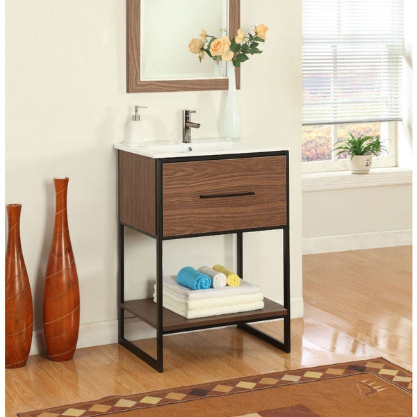 24 In Antique Walnut Single Bathroom Vanity With Black Metal Frame