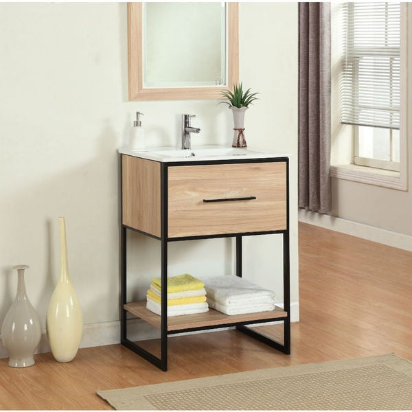Legion Furniture 24 Inch Maple Finish Single Sink Vanity With Black Metal Frame Free Shipping