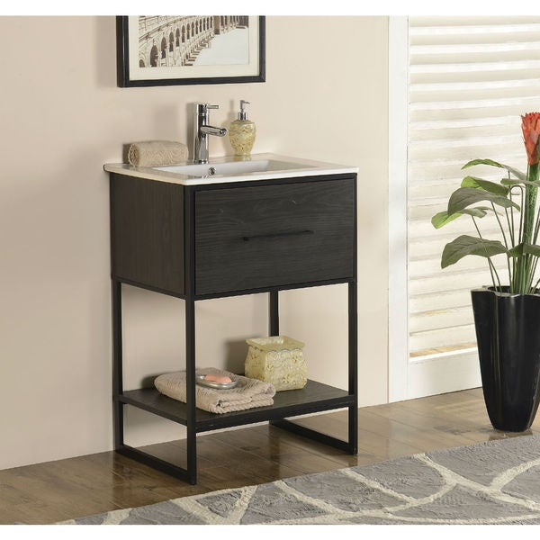 Legion Furniture 24 Inch Espresso Finish Single Sink Vanity With Black Metal Frame Free