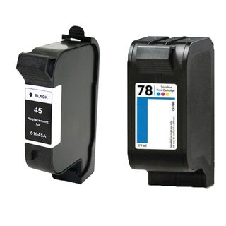 1Set HP 51645 (HP 45) Black & HP C6578DN (HP 78) Color Compatible Ink Cartridge For HP Deskjet 710C 712C ( Pack of 2 )