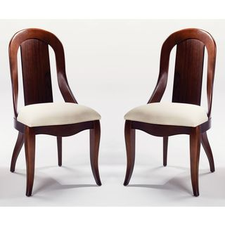 Upholstered Seat Chair in Mink/Beige (Set of 2)