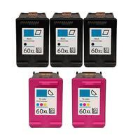 5PK 3 x CC641WN (HP 60XL) + 2 CC644WN (HP 60XL) Compatible Ink Cartridge For HP D1660 D2500 D2530 D2545 (Pack of 5)