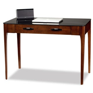 Chestnut Finish Wood Writing Desk with Black Glass Top