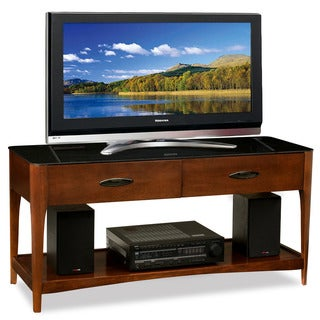 50-inch Chestnut Finish Wood TV Console with Black Glass Top