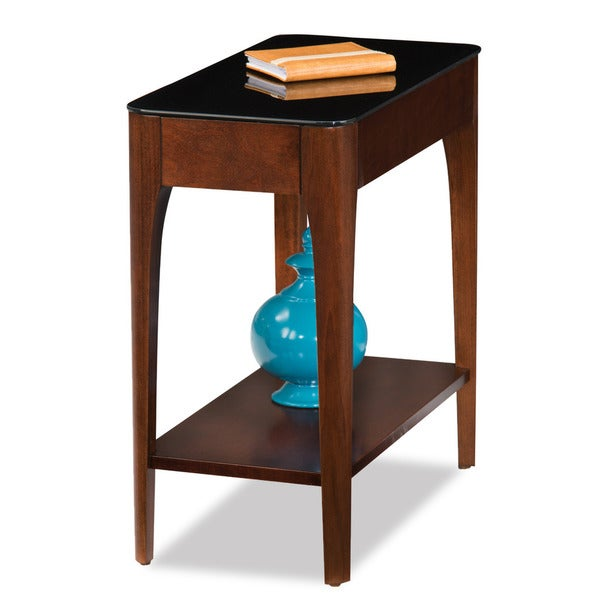 24-inch Chestnut Finish Wood Narrow Chairside End Table with Black Glass Top - Free Shipping ...