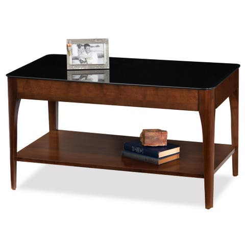Copper Grove HemerObsidian Black Tempered Glass Apartment Coffee Table