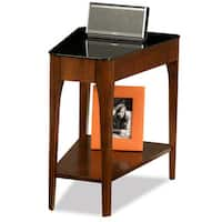 Copper Grove HemerChestnut Finish Wood Wedge Side Table with Black Glass Top