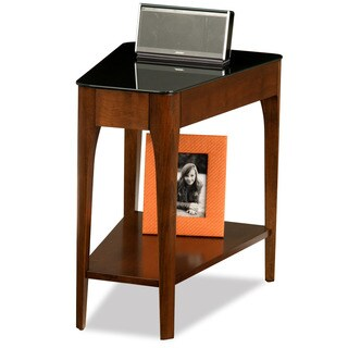Clay Alder Home Lisco Chestnut Finish Wood Wedge Side Table with Black Glass Top