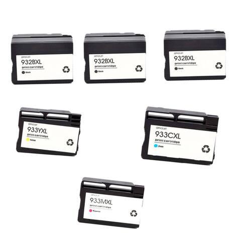 6PK 3 x 932XL BK + 933XL C M Y ( CN053AN - 056AN ) Compatible Ink Cartridge For HP OfficeJet 6600 ( Pack of 6 ) - Black
