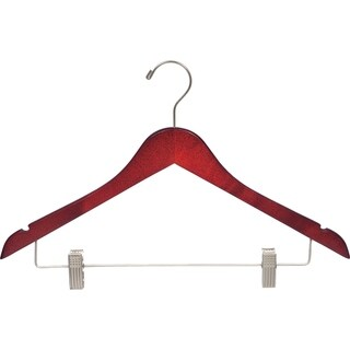 Cherry Finish Wooden Combo Hanger with Brushed Chrome Clips (Pack of 25)