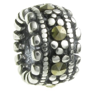 Queenberry Sterling Silver Round Rondelle Marcasite European Bead Charm