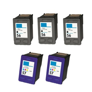 5PK HP 3 C6656 (HP 56) 2 C6657 (HP 57) Compatible Ink Cartridge For HP 3550 5550 5652 Officejet 4110 5510 (Pack of 5)