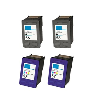 4PK HP 2 C6656 (HP 56) 2 C6657 (HP 57) Compatible Ink Cartridge For HP 3550 5550 5652 Officejet 4110 5510 (Pack of 4)