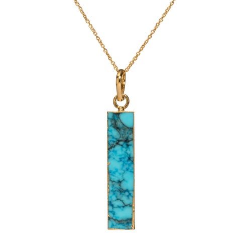 Mint Jules Raw Turquoise Vertical Bar Pendant Necklace