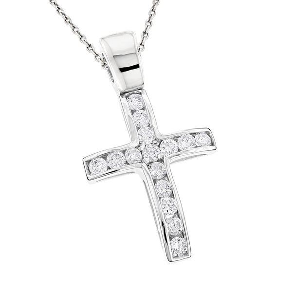 Luxurman 14k Gold 4/5ct TDW Diamond Cross Pendant Necklace
