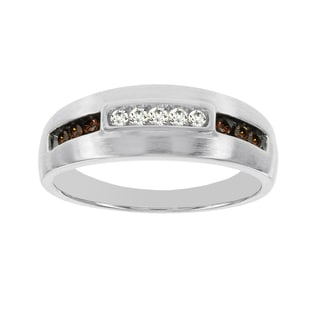 H Star 10k White Gold 1/4ct TDW Brown and White Diamond Men's Band Ring (I-J, I2-I3)