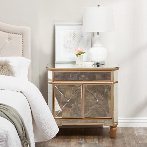 Abbyson Alexis Gold Trim Mirrored Console Cabinet