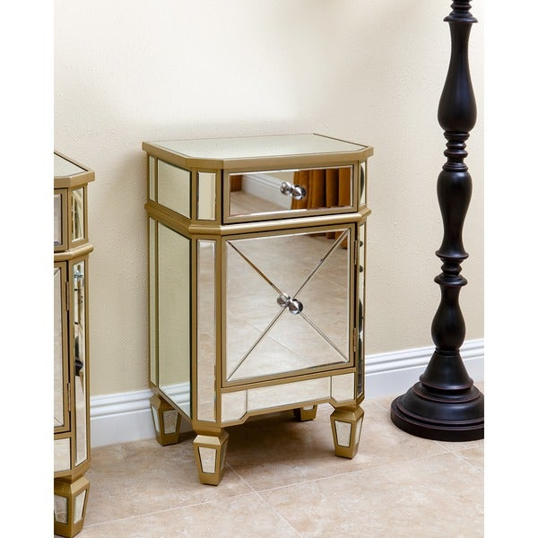 Abbyson Alexis Gold Trim Mirrored Cabinet Chest