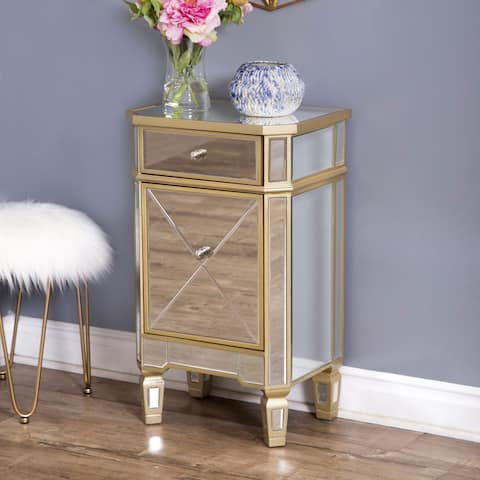 Abbyson Alexis Champagne Trim Mirrored Nightstand