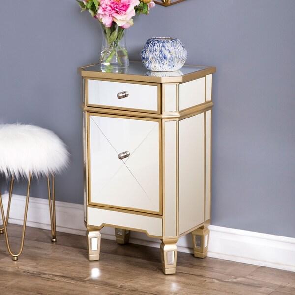 Abbyson Alexis Gold Trim Mirrored Cabinet Chest