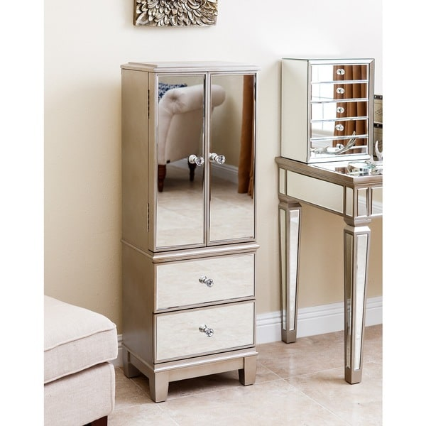 Abbyson Sophie Champagne Gold Mirrored Jewelry Armoire ...
