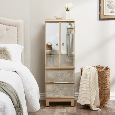 Abbyson Sophie Champagne Gold Glass and Wood Mirrored Jewelry Armoire