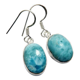 Handmade Sterling Silver Larimar Earrings (India) (Option: Larimar)