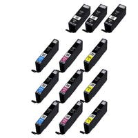 12PK 3 x CAN-PGI250 XL + 3 x CAN-PGI251 XL (C M Y) Compatible Ink Cartridge For Canon PIXMA MX300 series (Pack of 12)