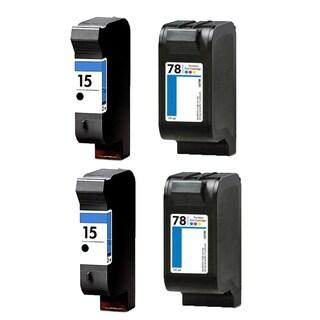 2Set HP C6615 (HP 15) Black & HP C6578DN (HP 78) Color Compatible Ink Cartridge For HP Deskjet 825C 712C ( Pack of 4 )