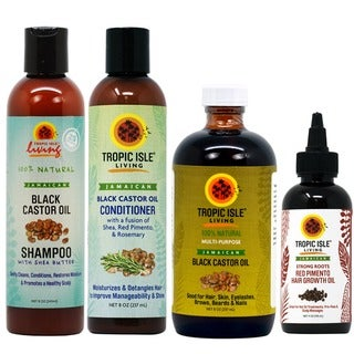 Tropic Isle Living Jamaican Black Castor Oil 4-piece Set