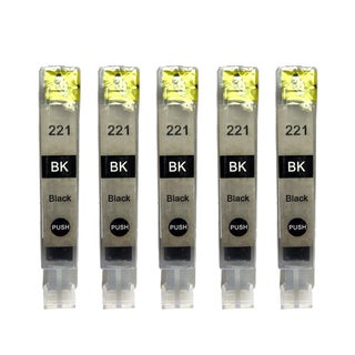 5PK CAN-221BK Compatible Ink Cartridge For Canon iP3600 iP4600 MP620 MP980 PMFP1 PMFP3 SFP1 SFP2 PIXUS MX860 (Pack of 5)