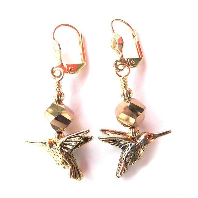 Palmtree Gems 'Goldtone Hummingbird' Dangle Earrings, Wom...
