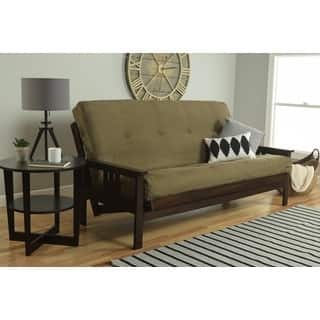 Somette Beli Mont Espresso Full Size Futon Set With Suede Mattress