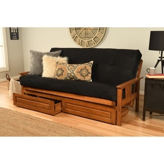 Somette Beli Mont Barbados Full-Size Futon Set with Suede Mattress and Storage Drawers