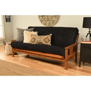 somette beli mont honey oak full size futon set with suede mattress  3 options futon set for less   overstock    rh   overstock