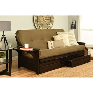 Somette Ali Phonics Espresso Full-Size Futon Set, with Suede Mattress, and Storage Drawers
