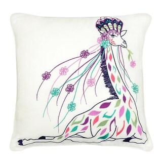 Giraffe Embroidered 16-inch Square Decorative Pillow