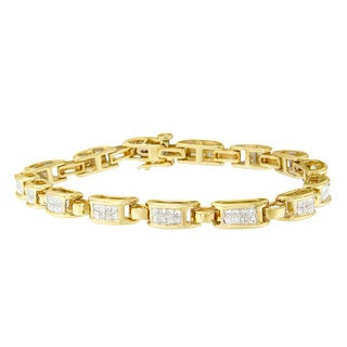 14k Yellow Gold 2ct TDW Princess-cut Diamond Bracelet (H-I, SI2-I1)