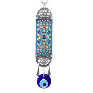 Light Blue and Red Kilim Rug Evil Eye Wall Art