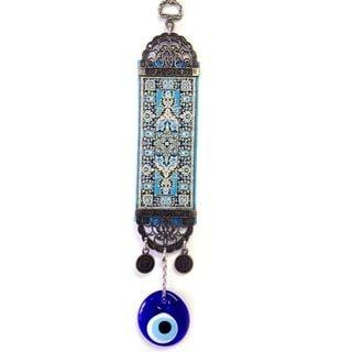 Light Blue Kilim Rug Evil Eye Wall Art