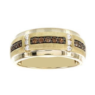 H Star 10k Yellow Gold 1/2ct Brown and White Diamond Men's Band Ring (I-J, I2-I3)