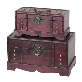 Antique Wooden Treasure Chest (Set of 2) - cherry